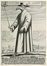 Médecin durant une épidémie de peste à Rome  au XVIIème siècle (gravure de Paul Fürst, 1656).