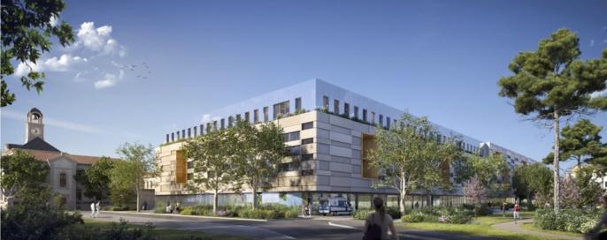Perspective depuis l'entrée du CHU Montpellier. ©Séquences, MDR Architectes et Archi Graphi
