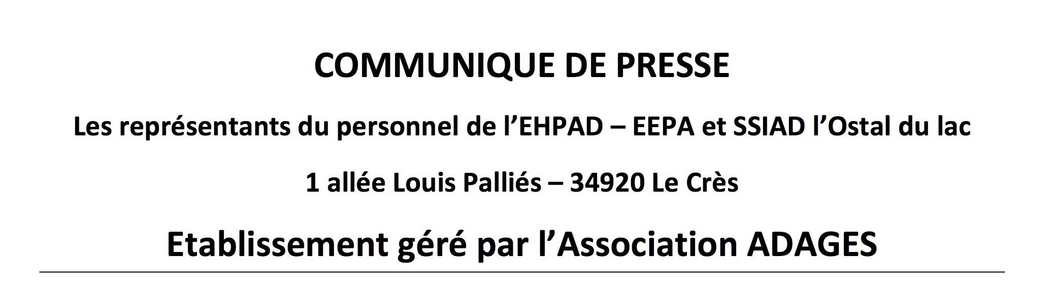 Oubliés du Ségur : communiqué des représentants du personnel de l'EHPAD - EEPA et SSIAD L'Ostal du Lac
